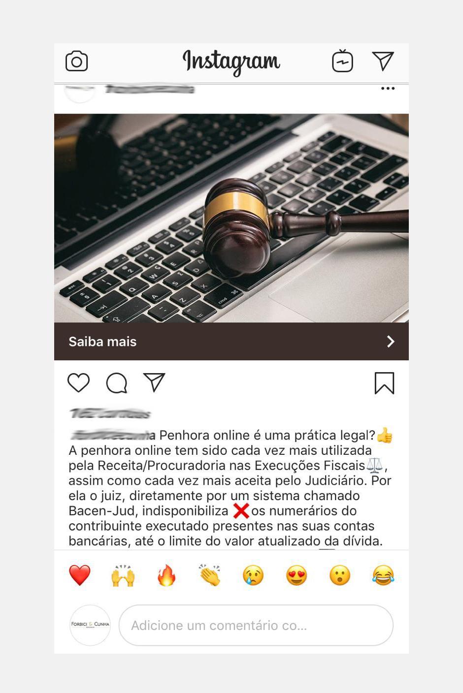 Post de instagram de advogado